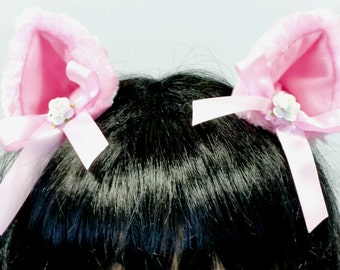 Pink Cat Ears-Lolita Cat Ears-Neko-Cosplay-Halloween-Cat Costume-Cat Ears-Faux Fur Cat Birthday Costume-Anime Mori kei-Harajuku-Playpen