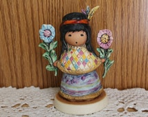 "Goebel DeGrazia ""Little Cocopah Indian Girl"" Figurine, in Original Box, Colorful Whimsical Native American Indian Girl Holding Flowers"