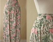 Floral Midi Skirt // Tan High Waist Pink Retro Flower Palm Floral Print 90s Midi Maxi Length Skirt // XS S M L xsmall small medium large