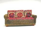 """1/4"""" Scale Faux Leather & Print Sofa"""
