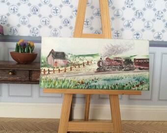 Railway Cottage Steam Train Landscape Miniature dollhouse painting Dolls House Art