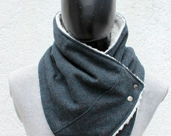 Mens cowl scarf.Unisex scarf. Teal cashmere, herringbone and plaid pattern,metalic snaps . Lightweight and cozy. Mens winter. Husband gift.