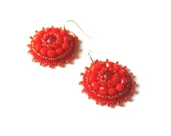 Red Dangle Earrings Bead embroidery Earrings Red Beads Earrings Bright Earrings Cabochon Earrings Bead embroidered jewelry Gift for her