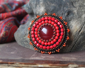 Red Beadwork Brooch Bead embroidery Brooch Embroidered Brooch Red Brooch Red jewelry Red Black Copper Agate Brooch Gift for her Spring