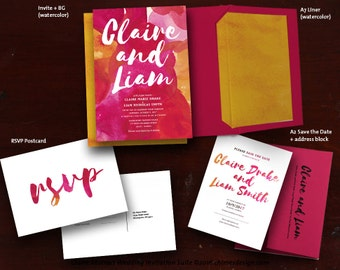 CLAIRE (Abstract Art) Invitation Suite Printables