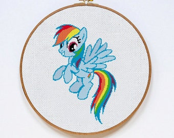 Rainbow Dash My Little Pony cross stitch pattern, Instant Download, Free shipping, PDF