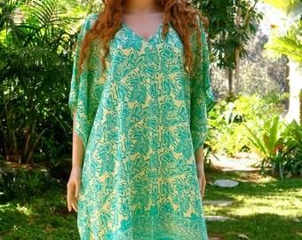 Green Kaftan, Cover up, Summer Dress