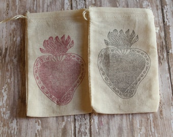 Set of 10 Hand stamped Sacred Heart Of Jesus Party Favor Muslin Bags 100% organic made in america