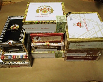 10 pc Cigar Box Lot - macanudo, romeo & juliet, cohiba, fuente,