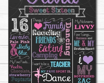 "Personalized Pastel ""Cotton Candy"" Sweet 16 Birthday Party Printable Sign 16""x20"" Or 8""x10"" Chalkboard Sign"