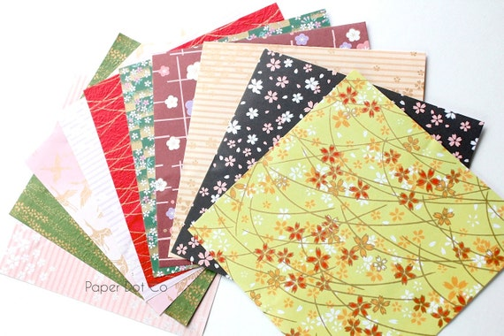 Origami paper pack, chiyogami scrapbook paper, printed origami sheets, colorful variety patterns, craft supplies