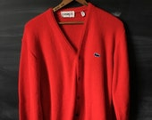 Vintage Lacoste/Izod Red cardigan sweater