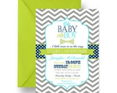 Lime Bow Tie Baby Shower Invitations Boys Dapper Shower Invites Little Man Party Printable or Printed Card Sprinkle Chevron Stripe (LIBOWBS)