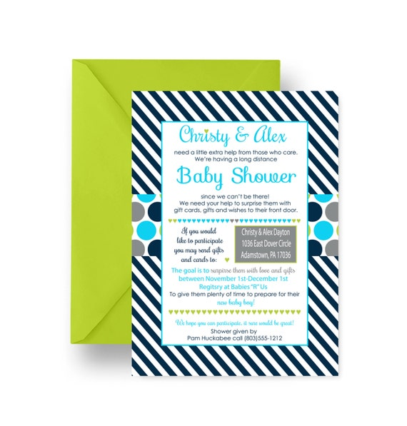 Long Distance Baby Shower Invitations for Boys, From Afar Invites, Skype Baby Shower, Navy Stripe Baby Party Printable or Print (SKYPES)