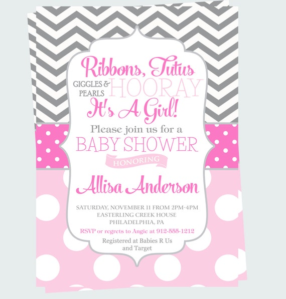 hooray baby shower invitation ribbons pearls girl invite elegant tutu