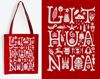 LITHUANIA Red Tote Bag