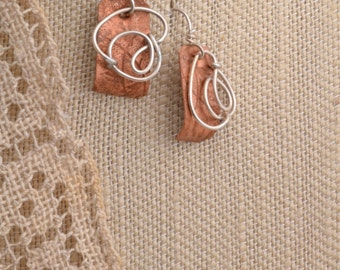 Textured Copper & Curls of Silver Earrings.  FREE SHIPPING