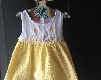 Nineties yellow butterfly dress 18-24 months