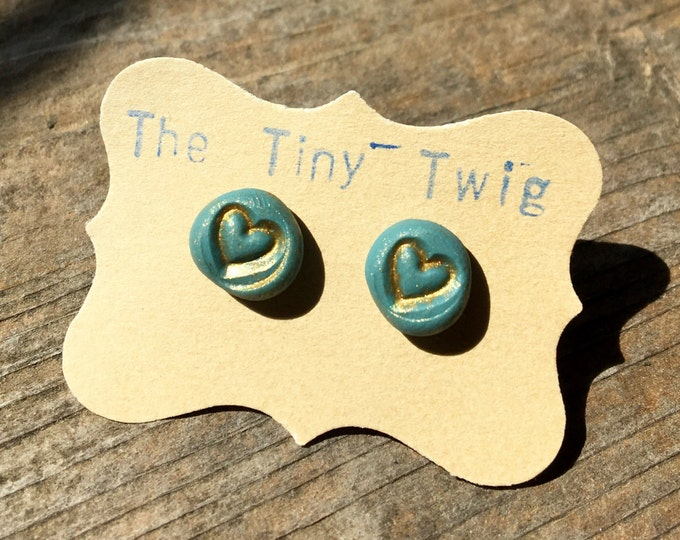 Clay Heart Post Turquoise Earrings