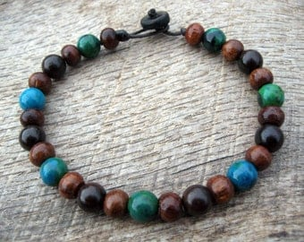 Mens bracelet, chrysocolla and wood beads, handmade beaded surfer bracelet, natural materials, toggle and loop clasp, brown and blue green