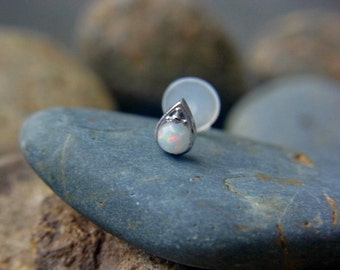 White Opal in teardrop shape casting push in 16g bio flexible tragus /forward helix / lip / medusa piercing (1pc)
