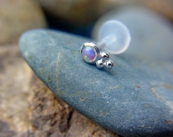 Purple Opal bazel set with trinity ball 16g bio flexible tragus /forward helix / lip / medusa piercing (1pc)
