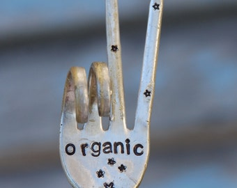 ORGANIC hand stamped PEACE Sign Garden Marker Art Fork HERB Potted Plants with Stars