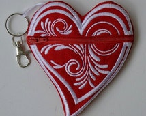 Coin Purse Red White Swirl Heart Gift Many Uses Kids Adults Backpack Clip Red Heart Zipper Pouch Back To School Pocket Purse
