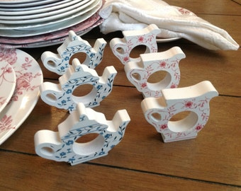 Adorable Wooden Transferware Teapot Napkin Rings Set the Tone for Your Tea Party