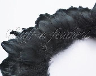 Wholesale / bulk feathers - Black goose coquille feathers, small jet black feathers strung for millinery, costumes / 1 ft (30.5cm) / FB199-2
