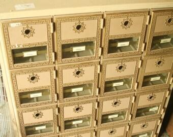 Vintage US Postal 16 Mail Box, Apartment Mailbox, Metal, Storage, Cubbies, 1960s Apartment Mailbox, Greek Key