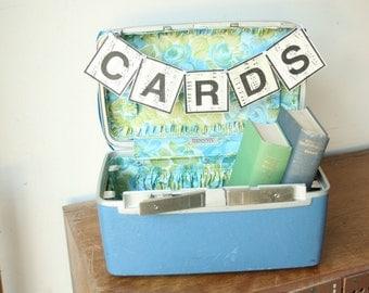 Vintage Train Case Suitcase Luggage, Wedding Card Box, Blue Wedding Decor, Blue, Green