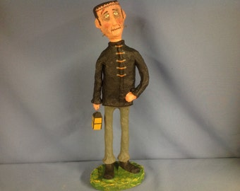 Paper mâché sculpted Halloween Frankenstein monster figure
