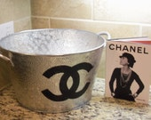 French Inspired Hand Painted Hammered Metal Silver Beverage Cooler Tub
