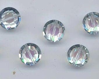 Six vintage Swarovski crystals - art. 5100 - 12 mm - rare effect color vitrail light