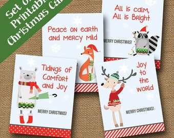 Kids Printable Christmas Cards | Woodland Animal Christmas Cards for Children | DIY PRINTABLE | Christmas Carol Cards | Kids Holiday Cards