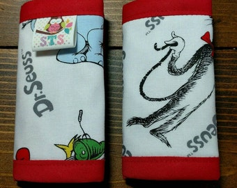 Reversible NEWBORN Car Seat Strap Covers Dr. Seuss Characters with Red Dimple Dot Minky Cuddle Baby Infant Accessories ITEM #178