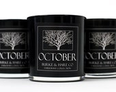 Halloween Candle - Darkwave Collection - Amber & Mahogany - October - Black Candle