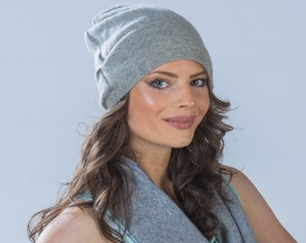 Cashmere hat slouchy beanie with side gathered detail  in grey from Vintage Creations