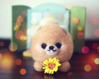 Needle felt puppy figurine, handmade dog doll, mini brown color felt pomeranian holding sunflower doll, happy dog, kids gift, gift under 25