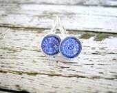 Purple Mandala Earrings: Small Photo Jewelry