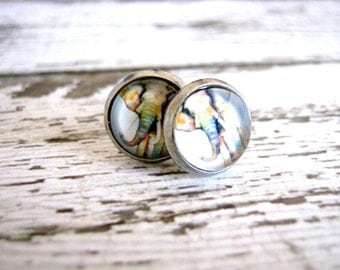 Elephant Stud Earrings : Boho Glass Photo Jewelry