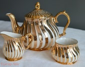 Sadler England Gold Swirl Teapot With Cream and Sugar, Bone China Tea Party Set, ca. 1950-1960