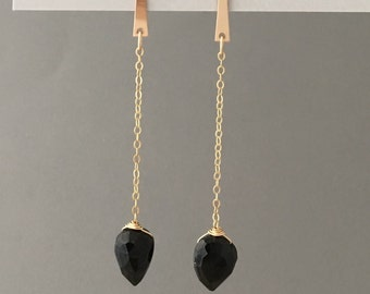 Gold Fill Spike Black Onyx Teardrop Earrings
