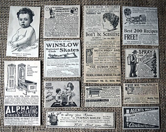 Victorian Antique Ads - Ephemera Pack Clippings Collage Decoupage Art Journaling - 1890's to 1905 - Delineator - Black and White - 50+ Ads