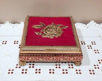 Vintage Red Tin Box Metal Candy Box English Confectionery Tin Jewelry Box Valentine Bluebird