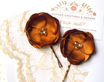 2 Rustic Country Fall Wedding Hair Flower Hair Pins, Burnt Orange Bridesmaid Hair Clips, Orange Flower Girl hair Accessories, Floral Hairpin