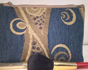 Earth Friendly~Green~Environmentally Friendly~Recycled~Cosmetic Bag~Chenille~Fully Lined~Chenille~Chances~Blue~Abstract