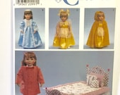 """UNCUT Simplicity 7900 18"""" Doll Clothes Sewing Pattern Dress Cape Hat Skirt Slip Bed Bedding Accessories"""