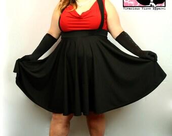 Cutie Pie Suspender Skirt in Black